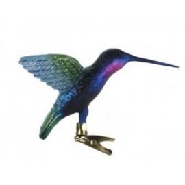 Glazen Kolibrie op Clip Blauw