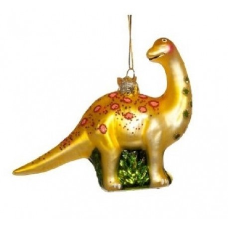 Kerstbal Dinosaurus Geel