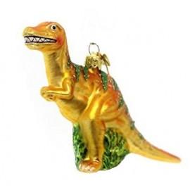 Kerstbal Velociraptor Geel