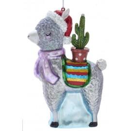 Kerstbal Alpaca met Cactus