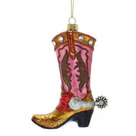 Kerstbal Cowboylaars roze