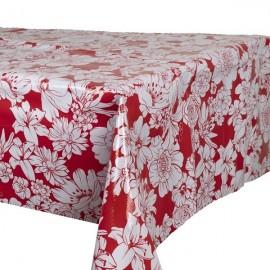 Tafelzeil  Rood met Witte Bloemen