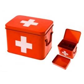 Medicijnkist/Verbandtrommel Rood met wit kruis