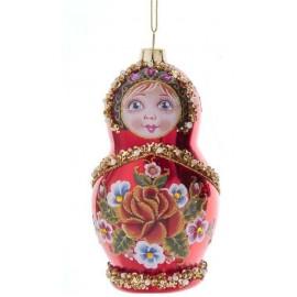 Kerstbal Babuschka Rood