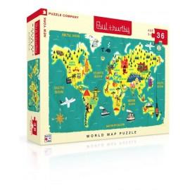 Vloer Puzzel Wereldkaart 36st