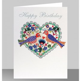 Happy Birthday - Birds in a heart