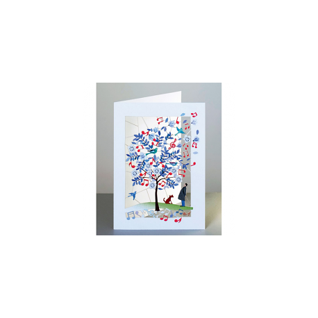 Tree with music, dog & man