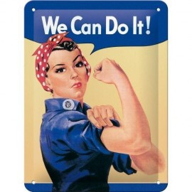 We Can Do It! Reliëf Tinnen Bord 15 x 20cm