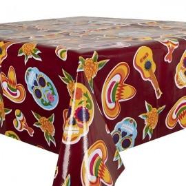 Kitsch Kitchen Tafelzeil  Calaveras Donkerrood