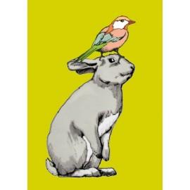 Ansichtkaart Konijn met vogel