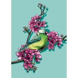 Ansichtkaart Vogel in Kersenbloesem