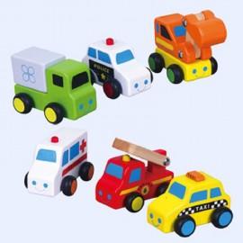 Set van 6 Houten Mini auto's