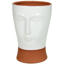 Bloempot Face Terracotta Wit H14