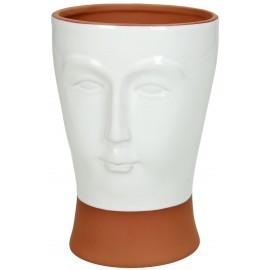 Bloempot Face Terracotta Wit H14
