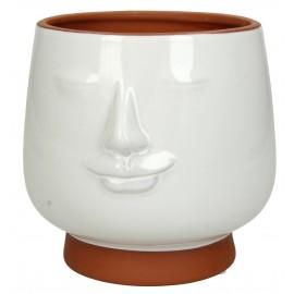 Bloempot Face Terracotta Wit H13