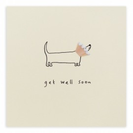 Dubbele kaart Get Well Dog Cone