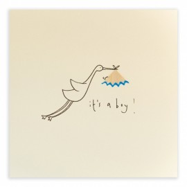 Dubbele kaart Baby Boy Stork