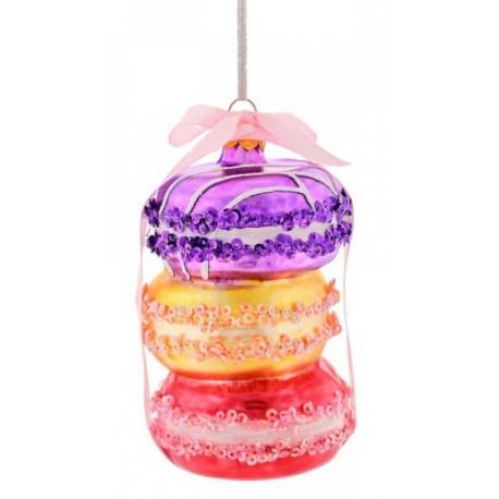 Kerstbal Macarons paars oranje rood
