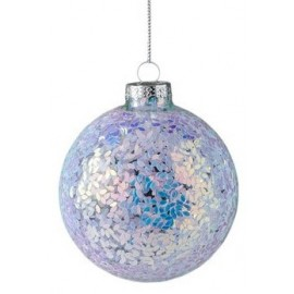 Kerstbal Seoul lila glitters