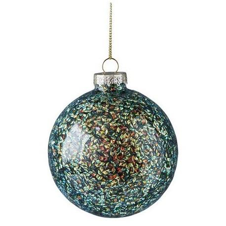 Kerstbal Donkergroene glitters