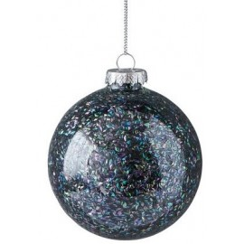 Kerstbal Donkerblauwe glitters