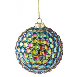 Kerstbal  Steentjes multicolour