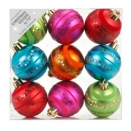 Set van 9 Gedecoreerde Onbreekbare Kerstballen