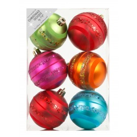 Set van 6 Gedecoreerde Onbreekbare Kerstballen