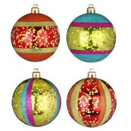 Set van 4 Onbreekbare Gedecoreerde Kerstballen