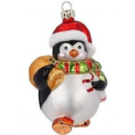Kerstbal Pinguin met muts