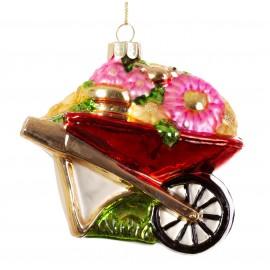 Kerstbal Kruiwagen met Bloemen