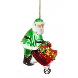 Kerstbal Kerstman met Kruiwagen
