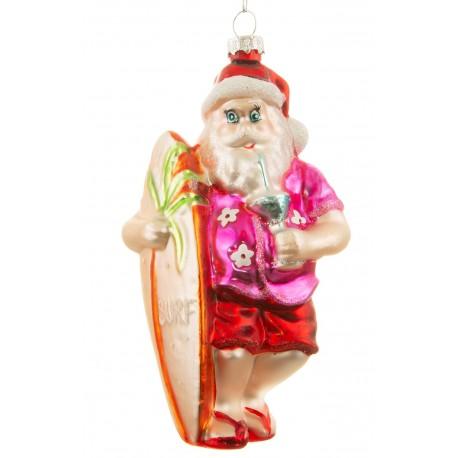 Kerstbal Kerstman met Surfplank