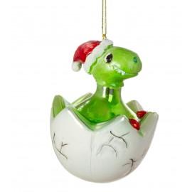 Kerstbal Baby Dino in ei