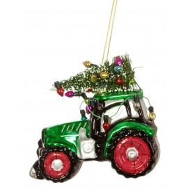 Kerstbal Traktor met kerstboom