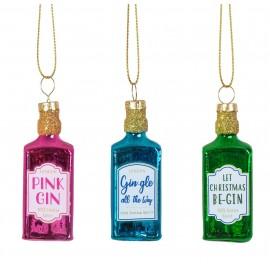 Set van 3 Mini Kerstballen Gin Flessen