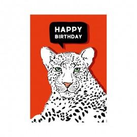 Ansichtkaart Leopard Happy Birthday