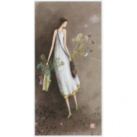 Enkele kaart Femme sac de Fleurs