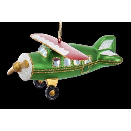 Kerstbal Vliegtuig Groen