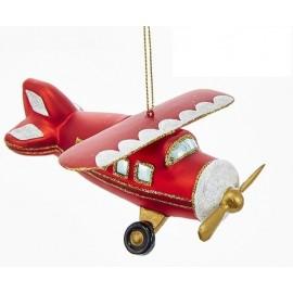 Kerstbal Vliegtuig Rood