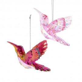 Set van 2 Kersthangers Kolibries Roze Burgundy