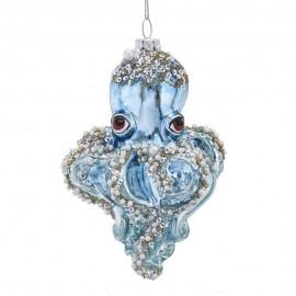 Kerstbal Octopus Blauw zilver goud