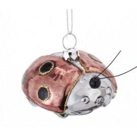 Kerstbal Lieveheersbeestje Roze zilver goud