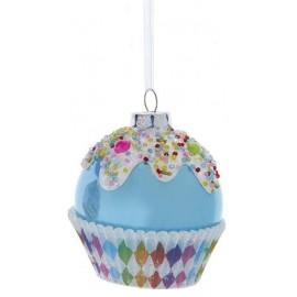 Kerstbal Cupcake Blauw