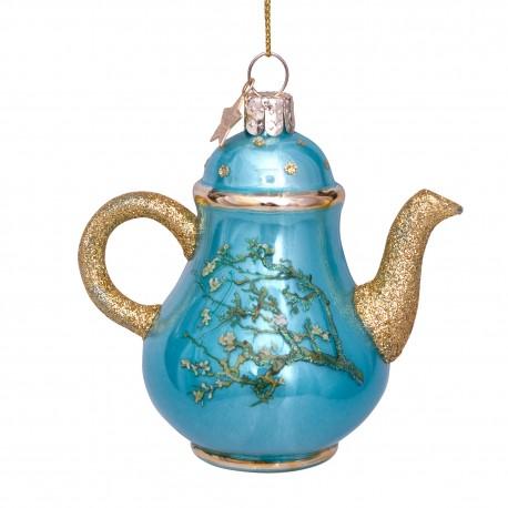 Kerstbal van Gogh Theepot Blauw Amandelbloesem