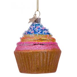 Kerstbal Regenboog Cupcake