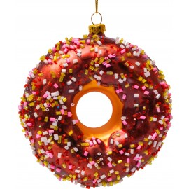 Kerstbal Donut Bruin met decoratie