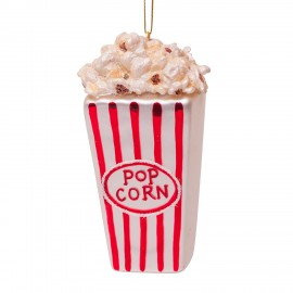 Kerstbal Popcorn Rood-wit