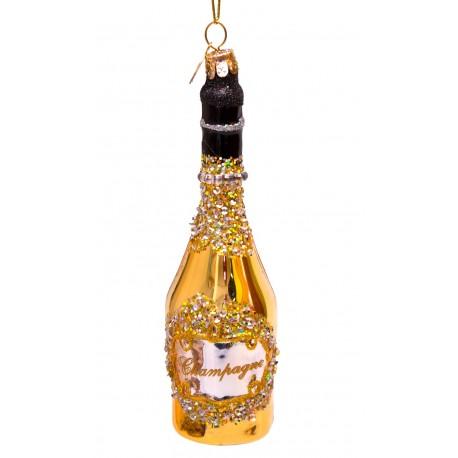 Kerstbal Fles Champagne Goud