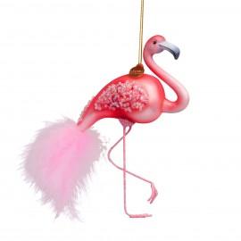 Kerstbal Roze Flamingo
